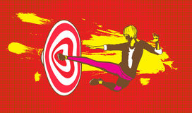 Smashing Flying Kick on Target Goal Illustration Royalty Free Stock Image
