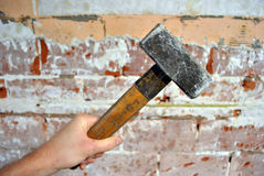 Smashing the hammer Royalty Free Stock Photos