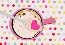 Smaskig cappuccino rånar med en sked vektor illustrationer