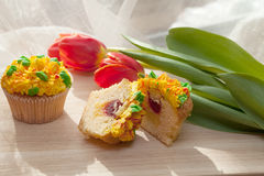 Smaskig muffin och röda tulpan på ljus bakgrund Selektiv focu Royaltyfri Bild