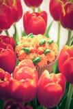 Smaskig muffin och röda tulpan på ljus bakgrund Selektiv focu Royaltyfri Fotografi