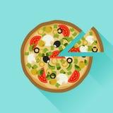 Smaskig pizza i plan designstil stock illustrationer
