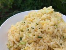 Smaskiga rörda stekte ris med ägg royaltyfria foton