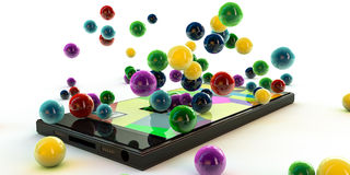 Smatphone. Modern smartphone making many colored balls Royalty Free Stock Photos