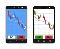 Smatrphone with forex chart. Stock Photography