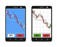 Smatrphone z rynek walutowy mapą Fotografia Stock