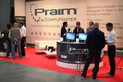 Smau 2009. Business talkings at Praim stand, SMAU, international fair of communications, business intelligence and information technology October 21, 2009 in Stock Photo
