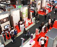 Smau 2010. Panoramic view of people visiting SMAU, international fair of communications, business intelligence and information technology October 20, 2010 in Stock Photography