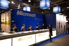 SMAU 2010 - de ontvangstbureau van Microsoft Stock Fotografie