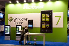SMAU 2010 - Windows phone 7. MILAN, ITALY - OCT. 21: Windows Phone desk during SMAU, International Exhibition of Information and Communication Technology on Stock Photos