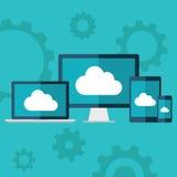 SMAU 2010 - de wolk van Microsoft gegevensverwerking Vlakke ontwerpillustratie van laptop, bureaucomputer, tablet en slimme telef Stock Foto