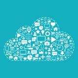 SMAU 2010 - de wolk van Microsoft gegevensverwerking Webpictogrammen op blauwe vectorillustratie worden geplaatst die als achterg Royalty-vrije Stock Foto
