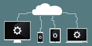 SMAU 2010 - Microsoft nubla-se a computação tecnologia do ommunication Ilustração do vetor Smartphone, PC, tabuleta Foto de Stock Royalty Free