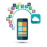 SMAU 2010 - Microsoft-Wolkendatenverarbeitung Intelligentes Telefon mit den Ikonen eingestellt Lizenzfreies Stockfoto