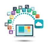 SMAU 2010 - Microsoft-Wolkendatenverarbeitung Tischrechner mit Netzikonen-Vektorillustration Stockfotografie