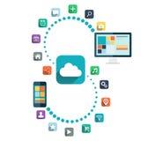 SMAU 2010 - Microsoft-Wolkendatenverarbeitung Tischrechner und intelligentes Telefon mit Farbnetzikonen vector Illustration Lizenzfreies Stockbild