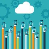 2010 smau obłoczny target335_0_ Microsoft Obłoczna ikona i ręki trzyma mądrze telefony z sieci ikonami na parawanowej wektorowej  Zdjęcie Stock