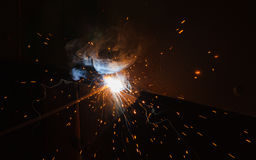 SMAW – Shielded matal arc welding and welding fumes. Royalty Free Stock Photo