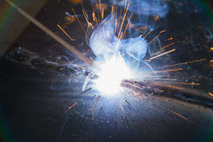 SMAW – Shielded metal arc welding and welding fumes. Royalty Free Stock Photography