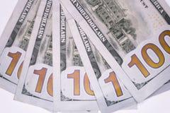 Smazzato cento banconote in dollari macro Fotografia Stock