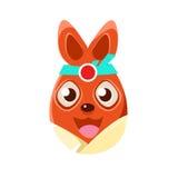 Símbolo anaranjado formado del día de fiesta religioso de Pascua Bunny In Kimono Colorful Girly del huevo de Pascua Foto de archivo
