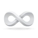 Símbolo blanco del infinito Fotos de archivo libres de regalías