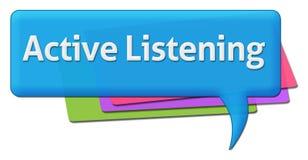 Símbolo colorido del comentario del Active que escucha Fotos de archivo