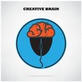 Símbolo creativo de brian con la muestra del ratón del ordenador, idea del negocio, ed Foto de archivo libre de regalías