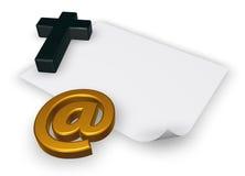 Símbolo cristiano de la cruz y del correo electrónico Fotos de archivo