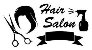 Símbolo da beleza com cabelo e tesouras da mulher Foto de Stock Royalty Free