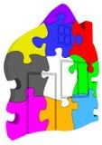 Símbolo da casa feito dos enigmas coloridos Fotografia de Stock Royalty Free