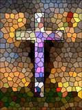 Símbolo da fé. Cruz do vitral. Fotografia de Stock