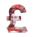 Símbolo da libra de Grâ Bretanha Fotos de Stock Royalty Free