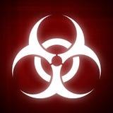 Símbolo de Biohazard no fundo vermelho Fotos de Stock Royalty Free