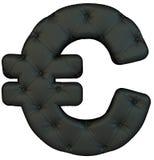 Símbolo de cuero negro de lujo del euro de la fuente Imagen de archivo libre de regalías