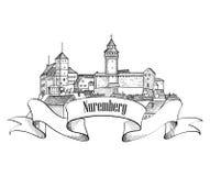 Símbolo de la ciudad de Nuremberg Vieja etiqueta de Alemania del viaje de Nurnberg Imagenes de archivo