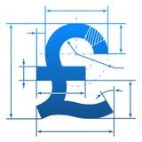 Símbolo de la libra esterlina con las líneas de dimensión Fotografía de archivo