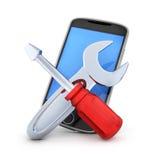 Símbolo de la reparación del teléfono Fotografía de archivo libre de regalías
