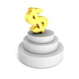 Símbolo de moneda de oro grande del dólar en el podio concreto Imagen de archivo libre de regalías