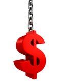 Símbolo de moneda rojo del dólar en cadena del metal Fotos de archivo