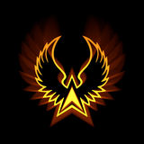 Símbolo de Phoenix con las llamaradas ligeras fuertes Fotografía de archivo libre de regalías