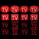 Símbolo de según lo visto en la TV, roja en el fondo negro Foto de archivo