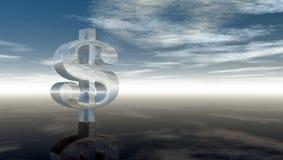 Símbolo de vidro do dólar sob o céu azul nebuloso Fotos de Stock