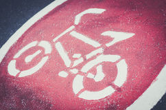 Símbolo del carril de la bici Fotografía de archivo
