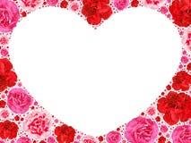 Símbolo del corazón de las flores abigarradas en blanco Foto de archivo