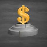 símbolo del dinero 3D en el podio concreto Foto de archivo libre de regalías