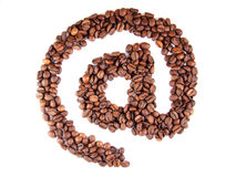 Símbolo del email con los granos de café Foto de archivo