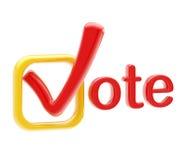 Símbolo del emblema del voto aislado en blanco Fotos de archivo libres de regalías