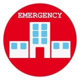 Símbolo del hospital en anillo rojo en el fondo blanco Imagen de archivo libre de regalías