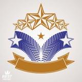 Símbolo del monarca del vector Emblema gráfico festivo con el pentágono cinco Imágenes de archivo libres de regalías